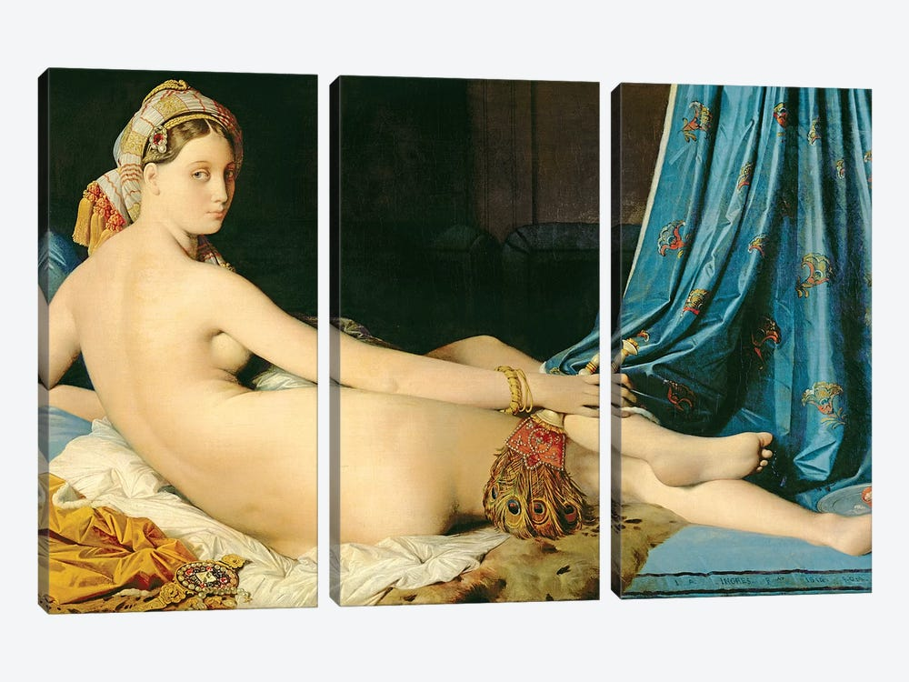 The Grande Odalisque, 1814 by Jean-Auguste-Dominique Ingres 3-piece Canvas Art Print