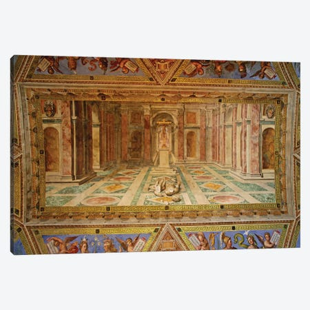 The Fall Of The Idols And The Rise Of Christianity (Central Panel, Ceiling, Room Of Constantine, Vatican), 1582 Canvas Print #BMN7286} by Tommaso Laureti Canvas Print
