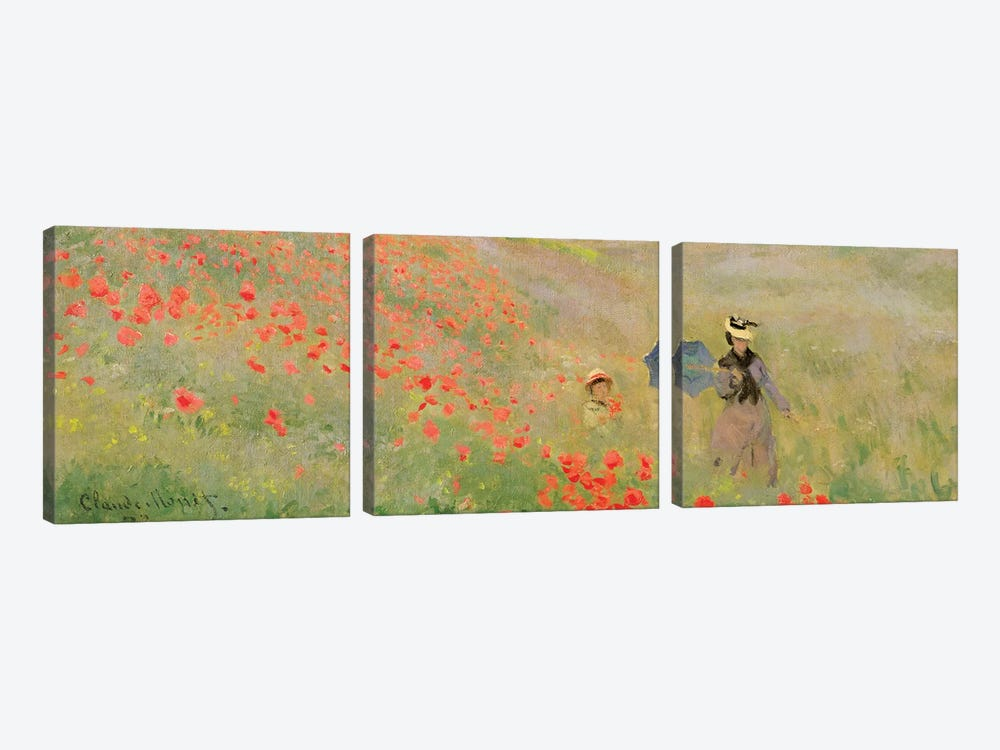Wild Poppies, Near Argenteuil, 1873 3-piece Canvas Art Print