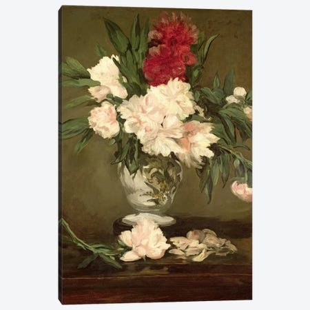 Vase of Peonies on a Small Pedestal, 1864  Canvas Print #BMN728} by Edouard Manet Art Print