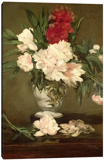 Vase of Peonies on a Small Pedestal, 1864  Canvas Art Print