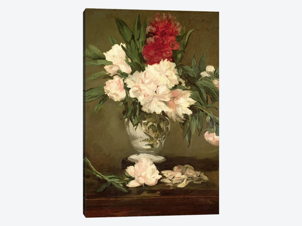 Vase of Peonies on a Small Pedestal, 1864 1-piece Canvas Art