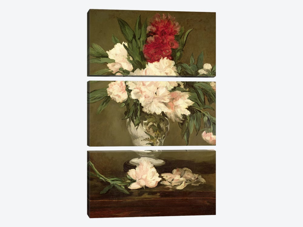 Vase of Peonies on a Small Pedestal, 1864 3-piece Canvas Art