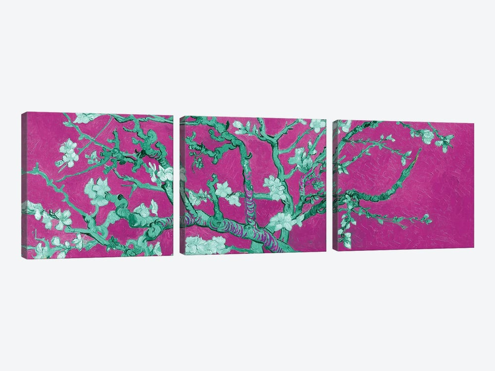 Almond Blossom On Magenta by Vincent van Gogh 3-piece Canvas Wall Art