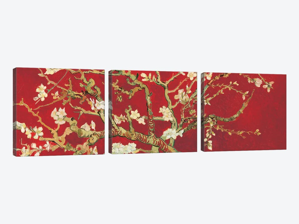 Almond Blossom On Red by Vincent van Gogh 3-piece Canvas Artwork