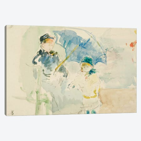 At The Beach In Nice, 1882 3-Piece Canvas #BMN7304} by Berthe Morisot Canvas Art