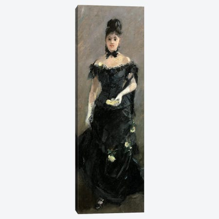 Femme en Noir (Avant le Theatre), 1875 Canvas Print #BMN7307} by Berthe Morisot Canvas Wall Art