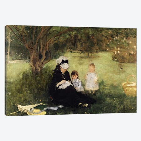 Beneath The Lilac At Maurecourt, 1874 Canvas Print #BMN7309} by Berthe Morisot Canvas Art Print