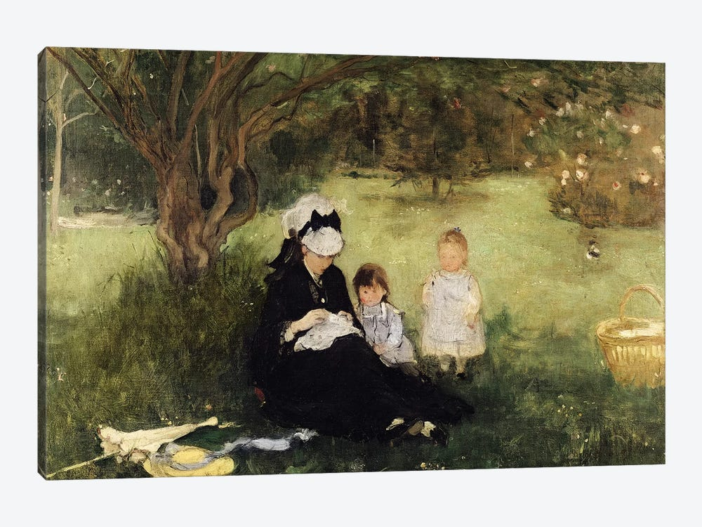 Beneath The Lilac At Maurecourt, 1874 by Berthe Morisot 1-piece Canvas Art