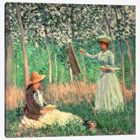 In the Woods at Giverny: Blanche Hoschede at her easel with Suzanne Hoschede reading, 1887  Canvas Print #BMN730} by Claude Monet Canvas Art