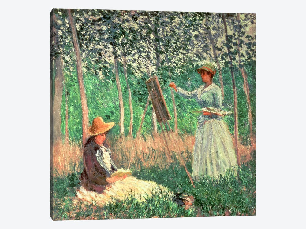 In the Woods at Giverny: Blanche Hoschede at her easel with Suzanne Hoschede reading, 1887  by Claude Monet 1-piece Art Print