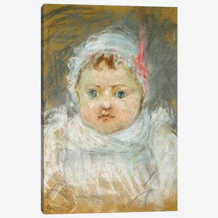 Bianche Pontillon As A Baby, 1872 Canvas Print #BMN7310} by Berthe Morisot Canvas Artwork