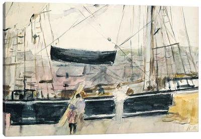 Boat On The Quay, 1875 Canvas Art Print