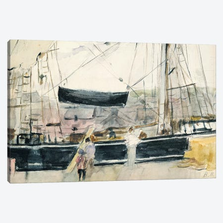Boat On The Quay, 1875 Canvas Print #BMN7311} by Berthe Morisot Canvas Artwork