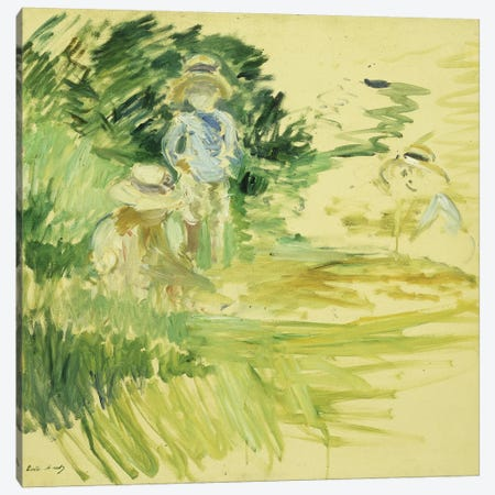 Children By The Side Of A Lake (Enfants au Bord du Lac), 1894 Canvas Print #BMN7313} by Berthe Morisot Canvas Wall Art