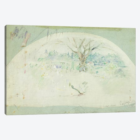 Fan Depicting Bougival, 1884 Canvas Print #BMN7316} by Berthe Morisot Canvas Art Print