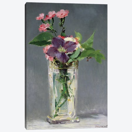 Pinks and Clematis in a Crystal Vase, c.1882  Canvas Print #BMN731} by Edouard Manet Canvas Art