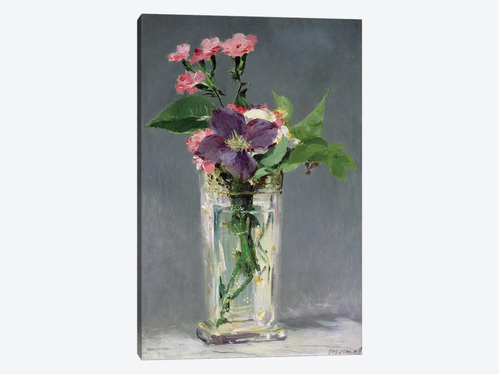 Pinks and Clematis in a Crystal Vase, c.1882  by Edouard Manet 1-piece Canvas Artwork