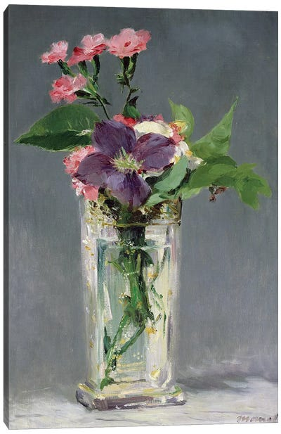 Pinks and Clematis in a Crystal Vase, c.1882  Canvas Art Print