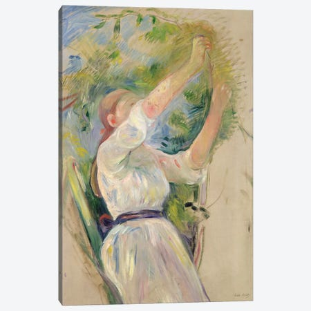 Girl Gathering Cherries, 1891 3-Piece Canvas #BMN7321} by Berthe Morisot Canvas Print