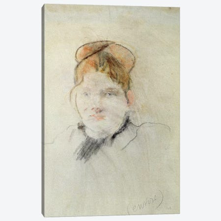 Head Of A Woman, 1886 3-Piece Canvas #BMN7323} by Berthe Morisot Art Print