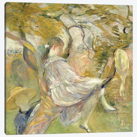 In The Apple Tree, 1890 Canvas Print #BMN7325} by Berthe Morisot Canvas Artwork