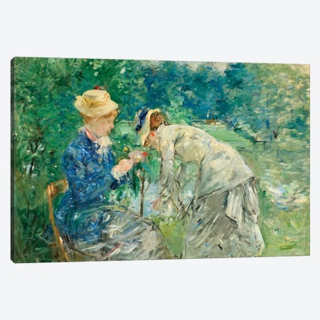 In The Bois de Boulogne, c.1875-79 Canvas Print #BMN7326} by Berthe Morisot Canvas Wall Art