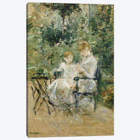 In The Garden (Dans la Jardin), c.1885 Canvas Print #BMN7328} by Berthe Morisot Canvas Art Print