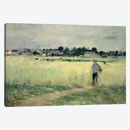 In The Wheatfield At Gennevilliers, 1875 Canvas Print #BMN7329} by Berthe Morisot Canvas Art Print