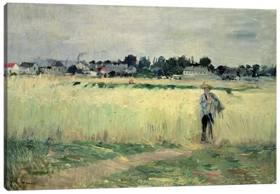 In The Wheatfield At Gennevilliers, 1875 Canvas Art Print