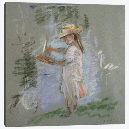 Julie In Pink By The Lakeside (Julie en Rose au Bord du Lac), 1886 3-Piece Canvas #BMN7333} by Berthe Morisot Canvas Artwork