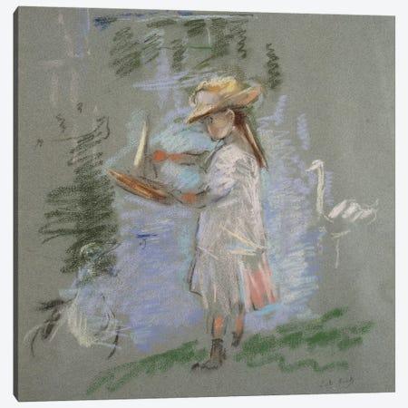 Julie In Pink By The Lakeside (Julie en Rose au Bord du Lac), 1886 Canvas Print #BMN7333} by Berthe Morisot Canvas Artwork
