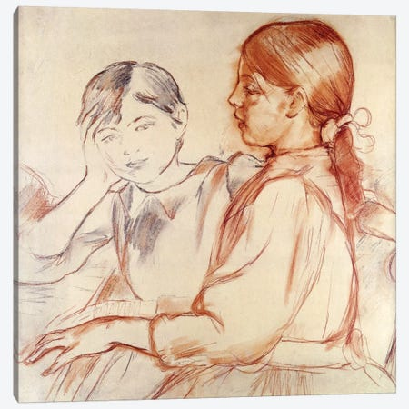 Julie Manet And Jeannie Gobillard At The Piano, 1887-88 Canvas Print #BMN7334} by Berthe Morisot Canvas Art Print