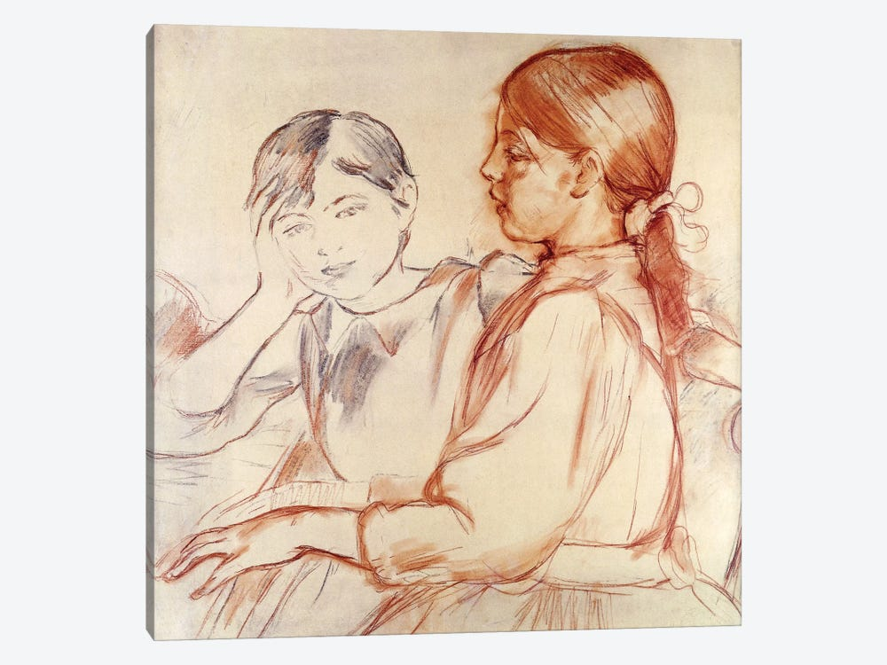 Julie Manet And Jeannie Gobillard At The Piano, 1887-88 by Berthe Morisot 1-piece Canvas Art