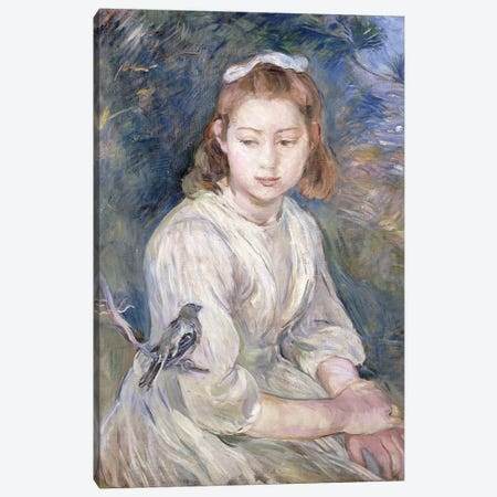 Little Girl With A Bird, 1891 Canvas Print #BMN7339} by Berthe Morisot Canvas Wall Art