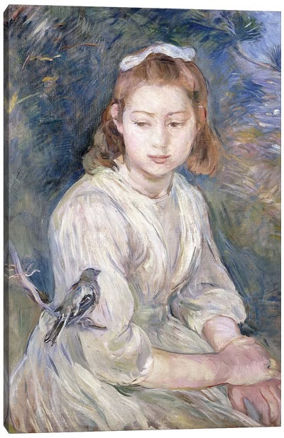 Little Girl With A Bird, 1891 Canvas Art Print