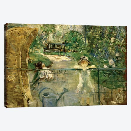 Little Girls In The Garden (The Basket Chair), 1885 Canvas Print #BMN7340} by Berthe Morisot Art Print