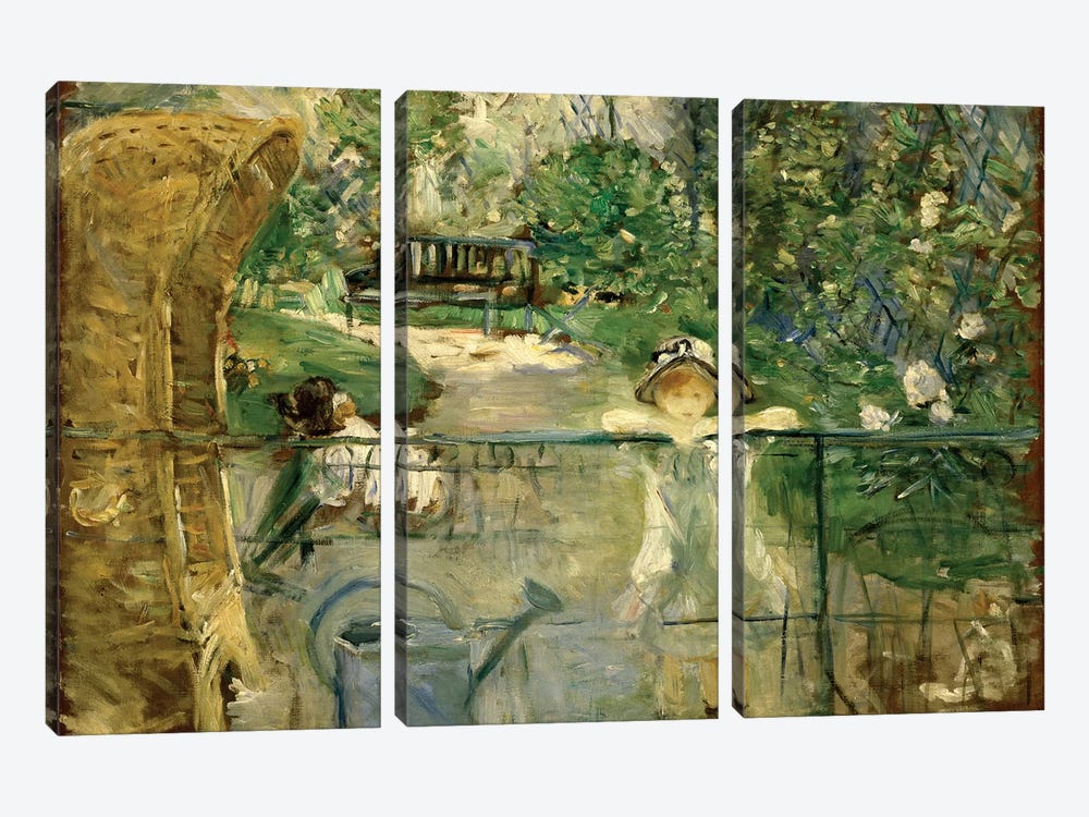 Little Girls In The Garden (The Basket Chair), 1885 by Berthe Morisot 3-piece Canvas Art Print