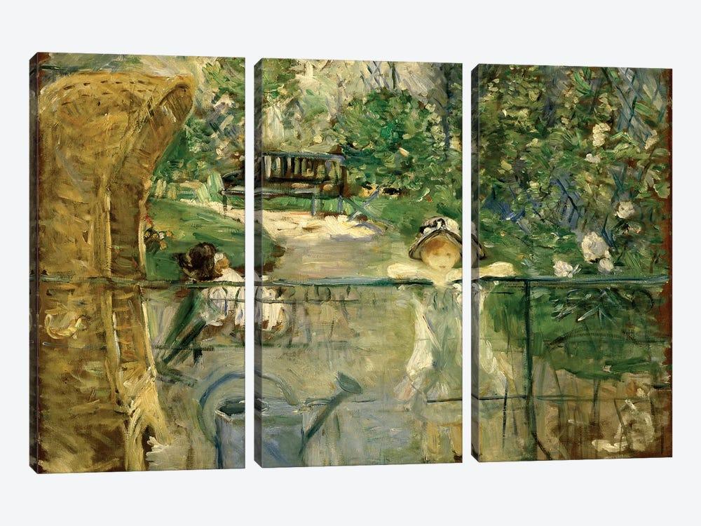 Little Girls In The Garden (The Basket Chair), 1885 by Berthe Morisot 3-piece Canvas Art Print