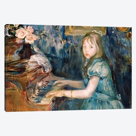 Lucie Leon At The Piano, c.1892 Canvas Print #BMN7341} by Berthe Morisot Canvas Print