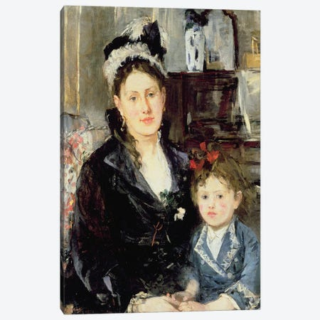 Madame Boursier And Her Daughter, 1873 Canvas Print #BMN7342} by Berthe Morisot Canvas Art Print