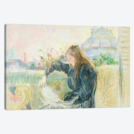 On The Balcony, 1893 3-Piece Canvas #BMN7348} by Berthe Morisot Art Print