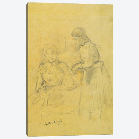 Portrait Of Alice Gamby And Julie Manet, 1889 3-Piece Canvas #BMN7353} by Berthe Morisot Canvas Art