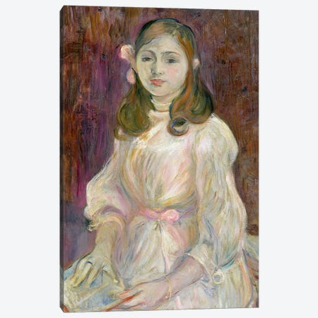 Portrait Of Julie Manet Holding A Book, 1889 Canvas Print #BMN7354} by Berthe Morisot Canvas Print