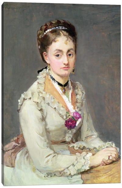 Portrait Of The Artist's Sister, Madame Edma Pontillon, c.1872-75 Canvas Art Print