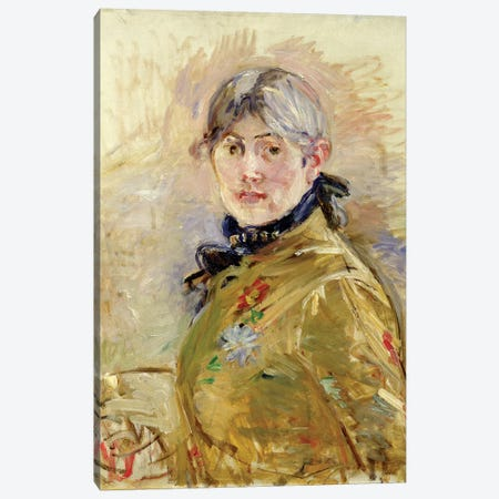 Self Portrait, 1885 Canvas Print #BMN7363} by Berthe Morisot Canvas Art Print