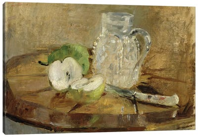 Still Life With A Cut Apple And A Pitcher, 1876 Canvas Art Print