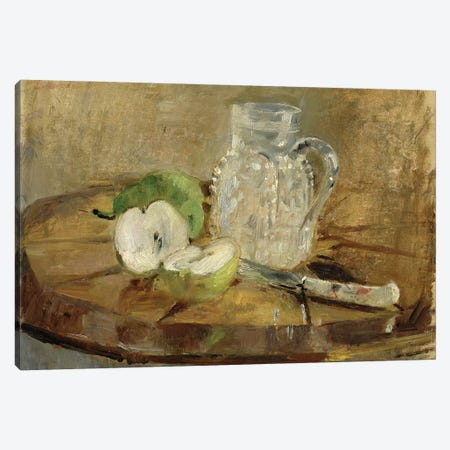 Still Life With A Cut Apple And A Pitcher, 1876 3-Piece Canvas #BMN7366} by Berthe Morisot Canvas Artwork