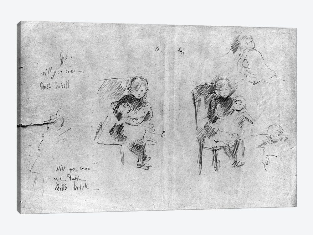 Studies For Little Girl With A Doll, 1884 by Berthe Morisot 1-piece Canvas Wall Art