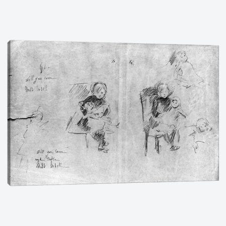 Studies For Little Girl With A Doll, 1884 3-Piece Canvas #BMN7367} by Berthe Morisot Canvas Art